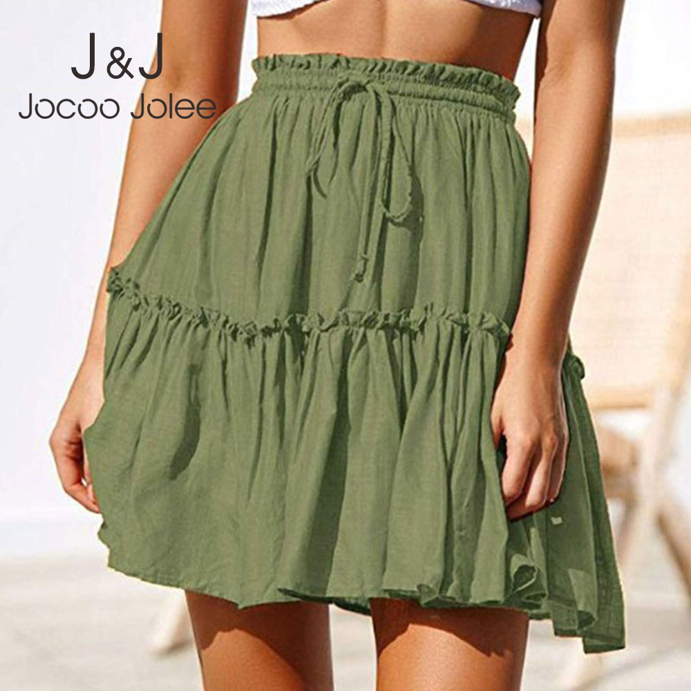 Jocoo Jolee Women Vintage Short Skirts Casual Boho Pleated A Line Skirt Ruffle Mini Skirt With Sashes Summer Holiday Beach Skirt