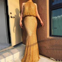 Женское вечернее платье русалка без рукавов с жемчужными бусинами