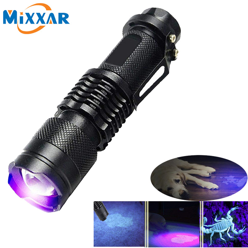 ZK20 Dropshipping Mini Zoomable 3 Modes Scorpion UV LED Flashlight Ultraviolet Torch Money Detector Pet Urine Stains Detecto