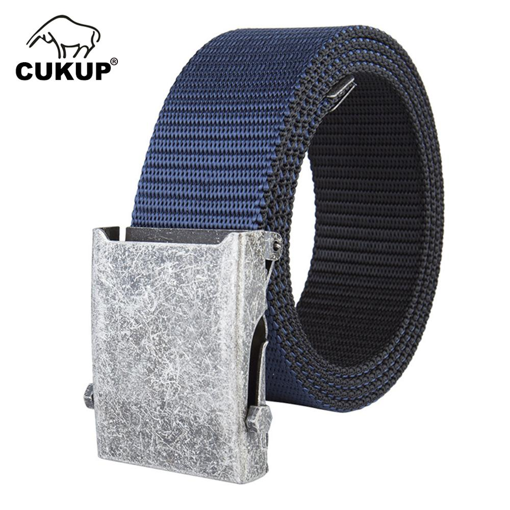 CUKUP Unisex Nylon Tactical Canvas Belt Simple Leisure Smooth Button Belts for Male Students Both Sides Canvas Belt CBCK156