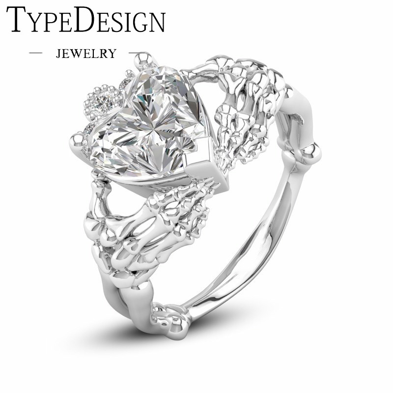 Punk Heart Gothic Skeleton Design Crown Hand Heart Clah-Duh Claddagh Finger Ring For Women Gift Jewelry Party Gift Ladies' Rings