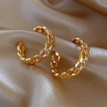 Prosty pusty łańcuch kolczyki metalowy krzyż skręcone kolczyki europejskie i amerykańskie kobiety modne kolczyki biżuteria