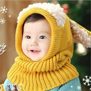 Hat Scarf Earflap-Caps Lamb-Hair Knit Winter Kids Cute Dog-Ears Warm Thickened Baby-Girls-Boys