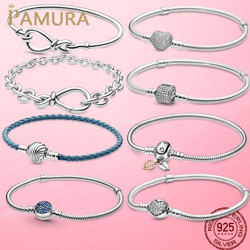 TOP SALE Femme Bracelet 925 Sterling Silver Heart Snake Chain Bracelet For Women Fit Original Pamura Charm Beads Jewelry Gift