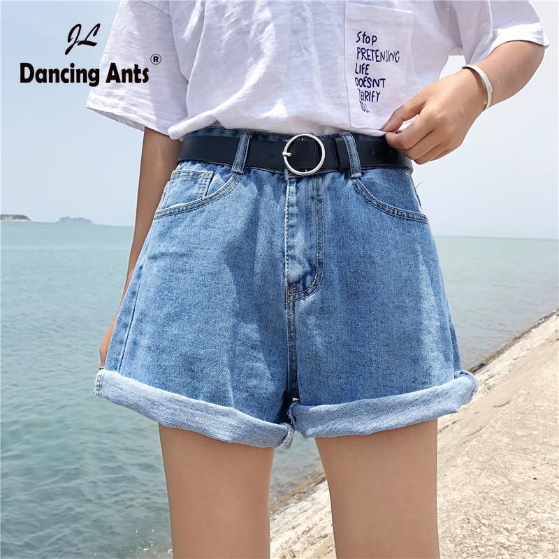 Woman Shorts High Waist A-line Loose Short Trousers Korean Style Classic Vintage Blue Jeans Shorts Casual Female Denim Shorts
