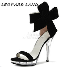 LEOPARD LAND20cm Heels Round Suede Bow Tie Buckle Ultra-fine High Heel Package Heel Dress Party Women's Sandals LYP(China)