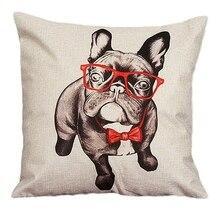 Sofá clásico caliente cama decoración para cafetería o casa funda de almohada cuadrada funda de cojín cremallera invisible de lino 45 cm x 45 cm (Beige (perro)