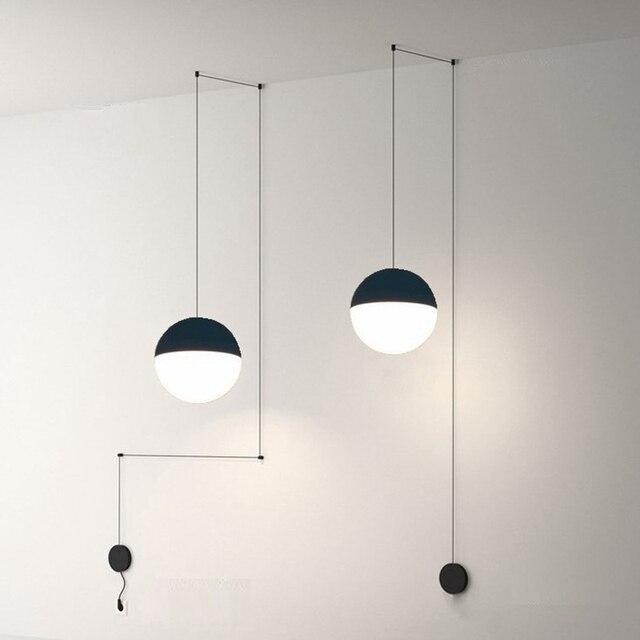 Lukloy Nachtkastje Moderne Hanglamp Led Draad Schorsing Lichten Kroonluchter Loft Decor Keuken Eiland Glazen Bol Lampen Met Hangers