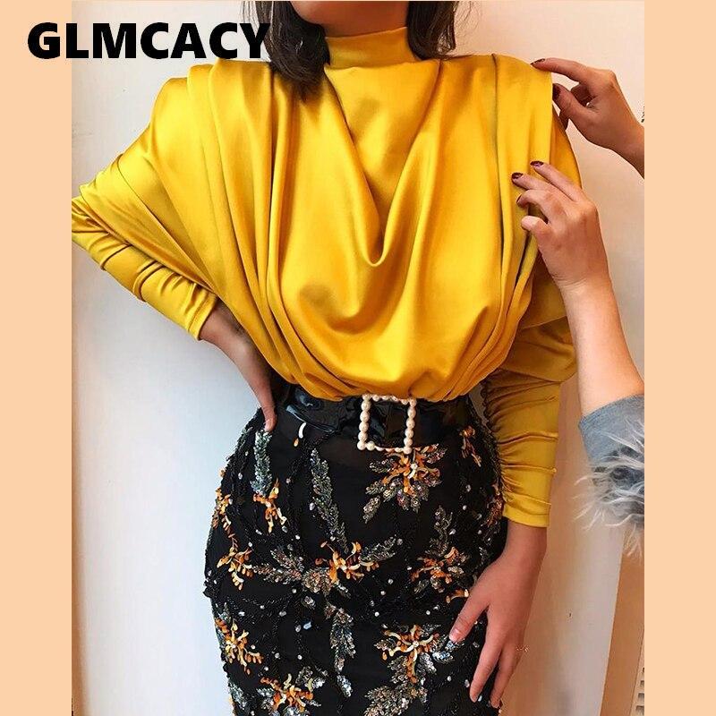 Women Streetwear Turtleneck Solid Batwing Sleeve Blouses Autumn Elegant Slim Long Sleeve Women Fashion Shirts