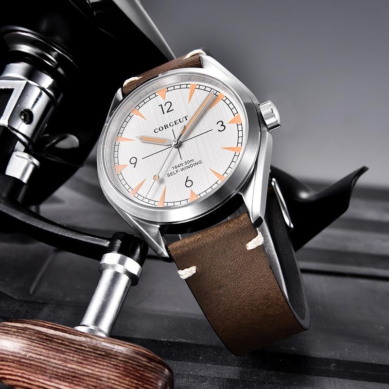 Marca superior Corgeut 41mm reloj para hombres reloj miyota 8215 automático de lujo mecánico completo de acero zafiro reloj de pulsera para hombres - 5