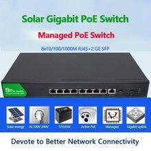 Коммутатор poe на солнечной батарее 8 гигабитных портов с 2
