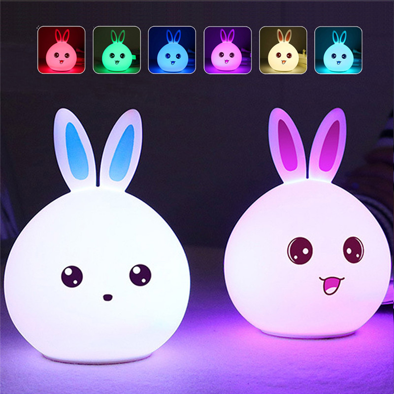 Cute Rabbit USB Silicone Night Light LED Remote Sensor Lamp For Bedroom LED Night Lamp For Children Baby Kids Bedside Lamp