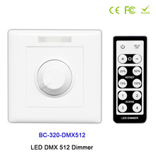 цена на BC-320-DMX512 Wall-mounted Knob style LED DMX 512 Dimmer manual switch led dimmer+IR remote for led strip light DC12V-24V