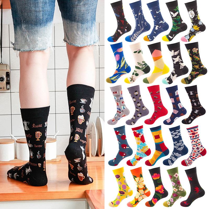 High Quality Casual Shark Novelty 1 Pair Long Tube Colorful Skateboard Crew Printed Cotton Socks Men Skull Women Hot Sale