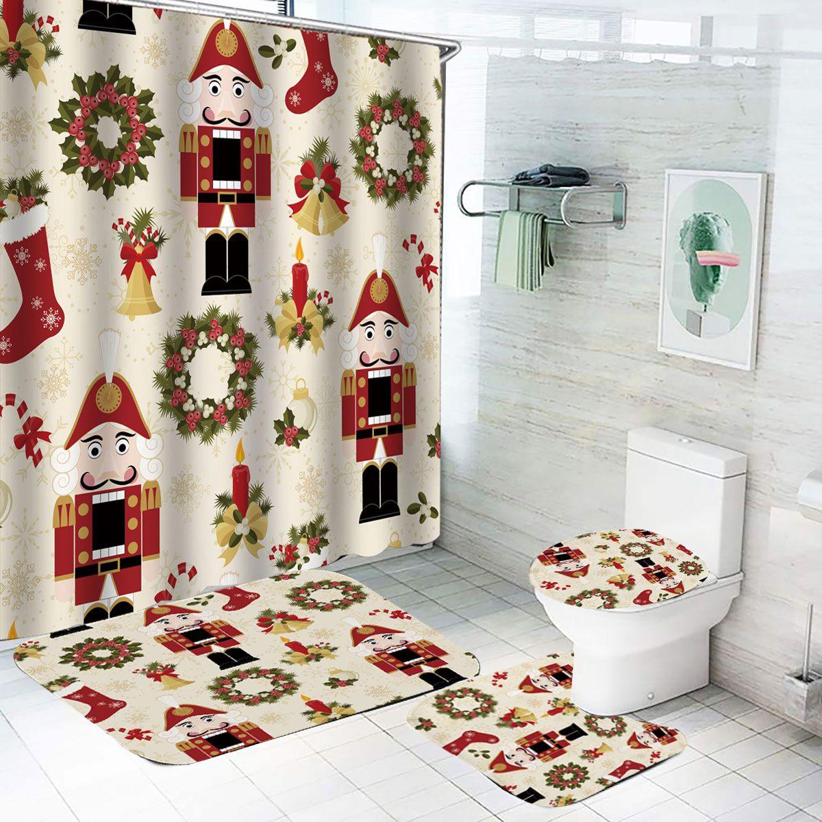 15 Piece Merry Christmas time Theme shower curtain Set