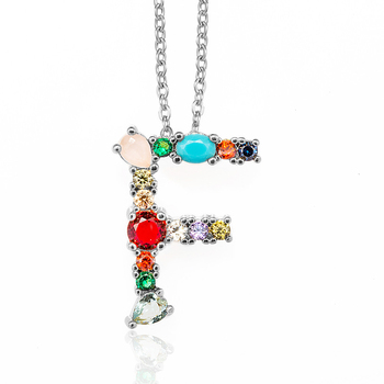Multicolor Fashion Charm Gold 26 Alphabet Pendant Necklace Micro Pave Zircon Initial Letter Necklaces Couple Name 4
