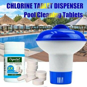 Comprimés de chlore Effervescent, 100 pièces, nettoyage de piscine, distributeur w Cage transparente, désinfecte piscine, mousseur 1