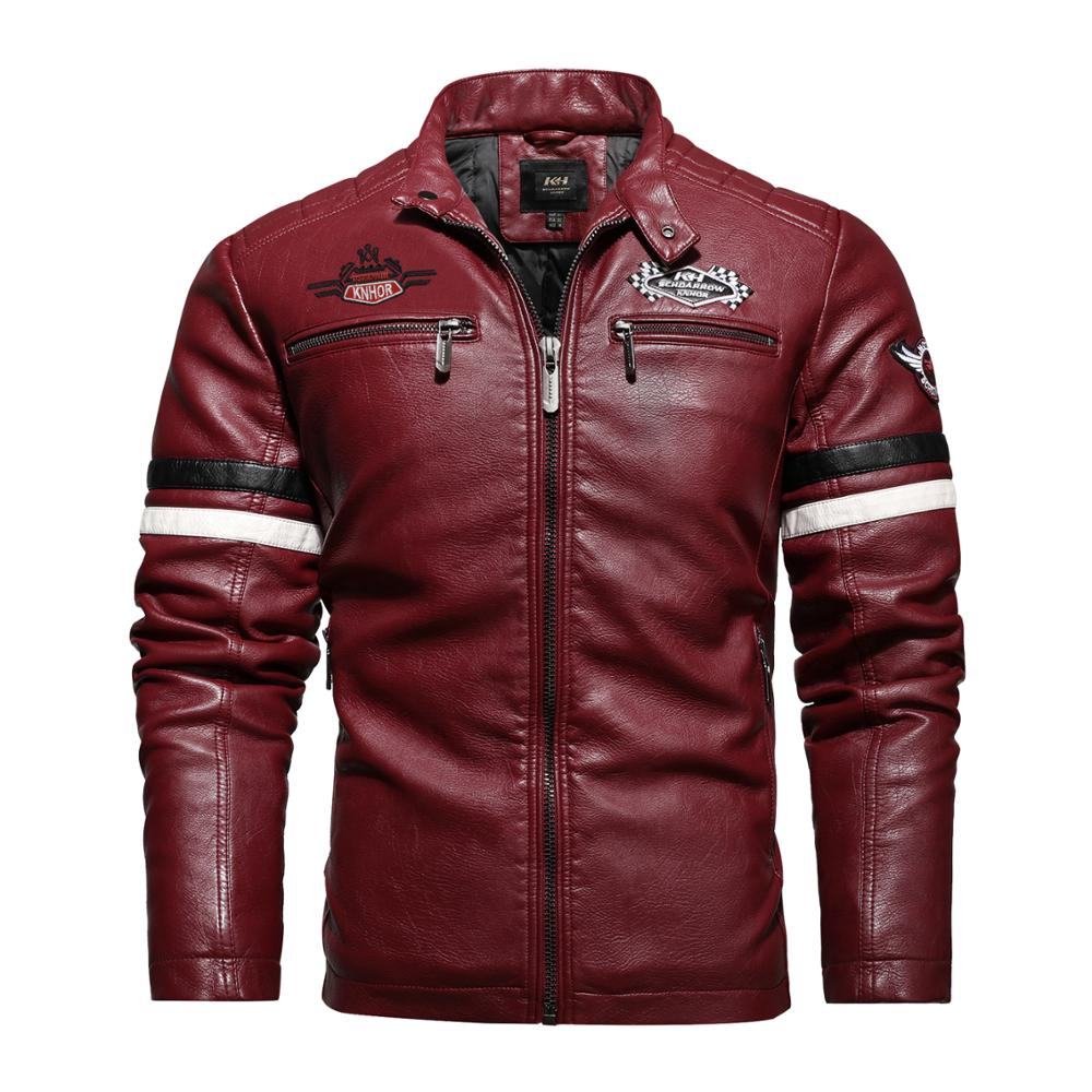 2020 Autumn Men's New Air Force Pilot Motorcycle Leather Jacket Fashion Mosaic Red Leather Coat