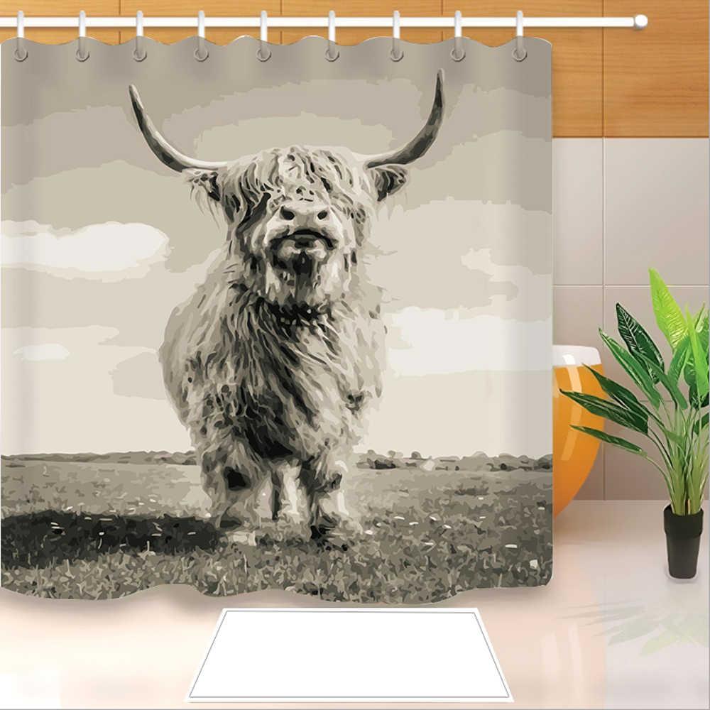 highland cow 3d print shower curtain polyester fabric bathroom curtain waterproof hook bath curtain 03