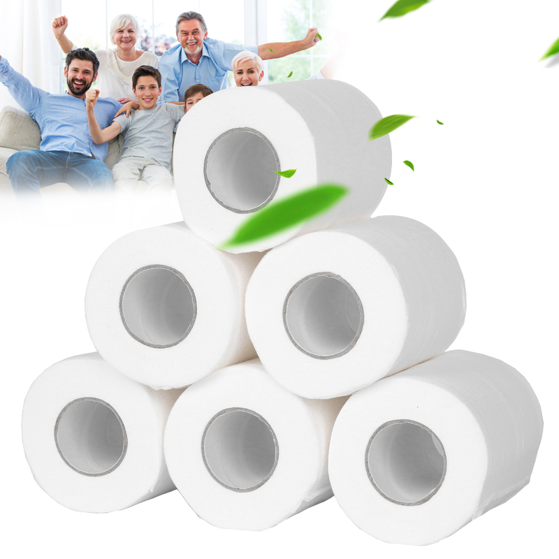 6 Roll Toilet Paper Bulk Roll Bath Tissue Bathroom White Soft 4 Ply For Home H9