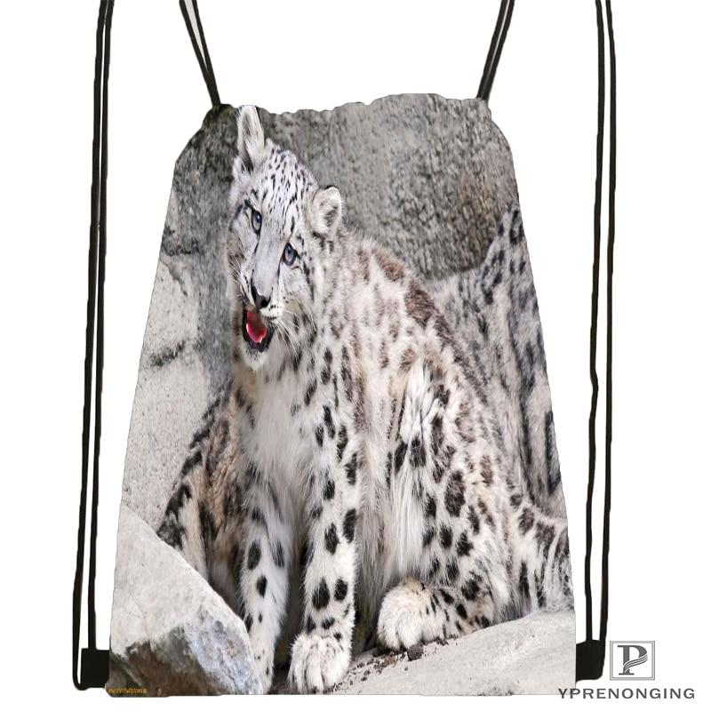 Custom Snow-leopard-nature-life Drawstring Backpack Bag Cute Daypack Kids Satchel (Black Back) 31x40cm#180611-01-11