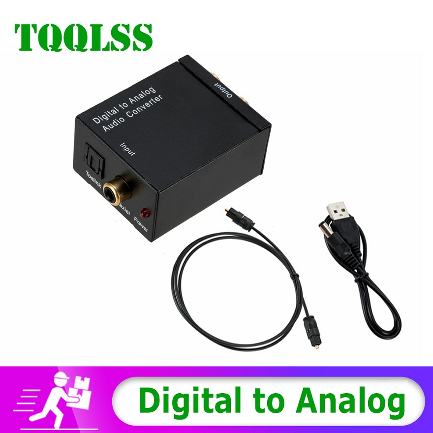 Digital To Analog Audio Converter RCA R/L Output Optical Digital Stereo Audio SPDIF Coaxial To Analog Adapter DAC Aamplifier