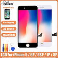 AAAA oryginalny ekran LCD dla iPhone 5 6 6s 7 8 Plus montaż wyświetlacza LCD Digitizer nie martwy piksel z 3D dotykowy wymiana LCD