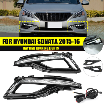 12v Drl For Hyundai Sonata 9 2015 2016 Daytime Running Light Front Bumper Driving Lamp White Light Car Accessories Styling