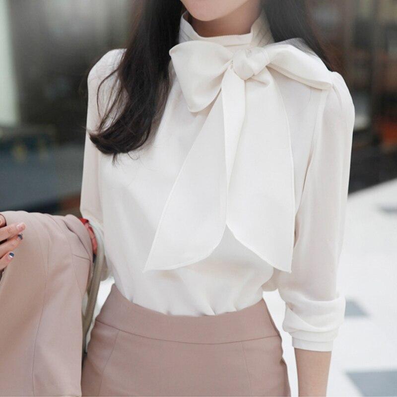 2019 fashion new loose bow chiffon blouse women's long sleeve shirt female shirts buttons womens tops A012