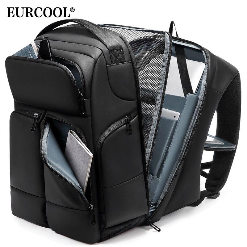EURCOOL Men Travel Backpack High Capacity Multi-layer Space 15.6 Inch Laptop Bag Male USB Charging Backpacks Waterproof N1956