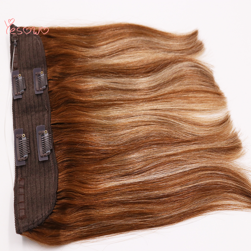 Yesowo Highlight Blonde Brown 4/27/4# Halo Hair Extensions Fish Line One Piece Hair Weft Brazilian 100 Human Hair Extensions