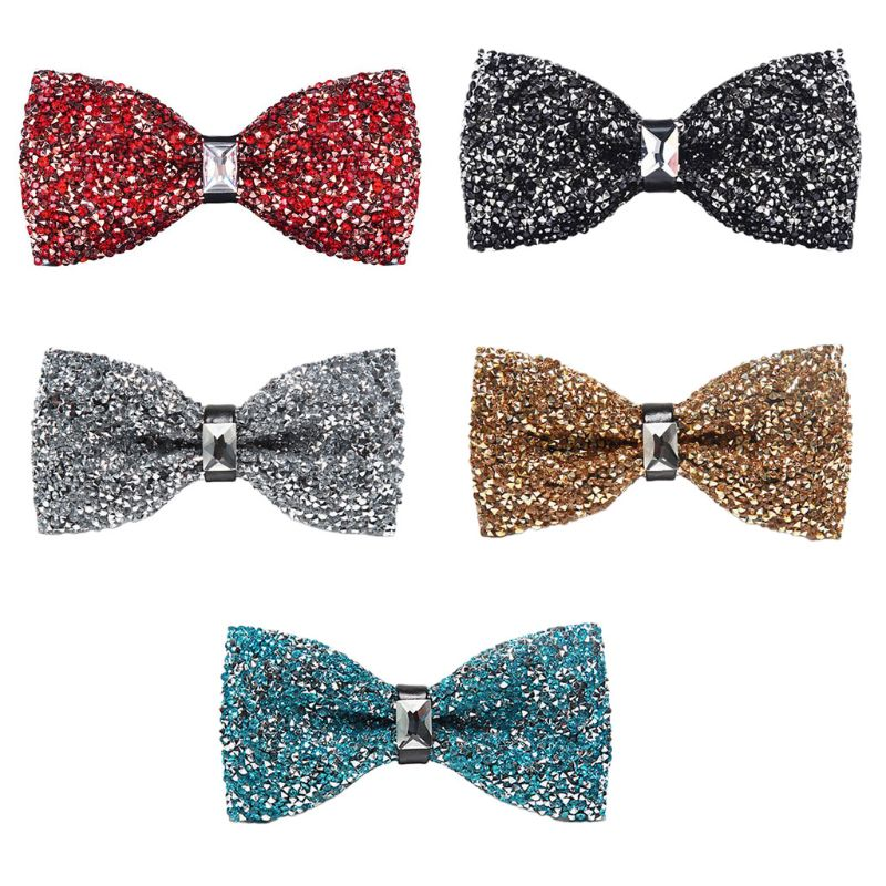 Men Women Glitter Imitation Crystal Rhinestone Bow Ties Pre-Tied Sequins Adjustable Length Wedding Banquet Formal Party Necktie