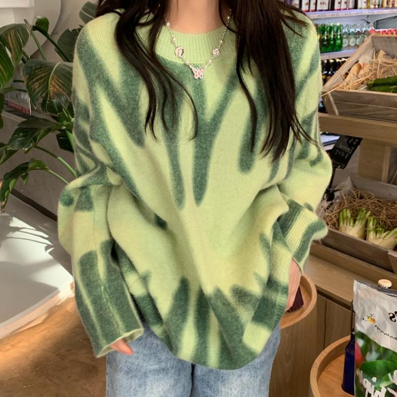 Winter Print Knitted Sweater Women Elegant Green Striped Oversized Pullovers Women Loose Long Sweaters Streetwear Outerwear