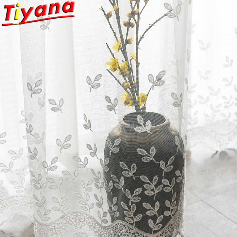 White Flower Embroidery Tulle Curtains For Living Room Elegant Screens for Kitchen Balcony White Solid Yarn X-HM356*VT