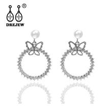 DREJEW Butterfly Circle Pearl Gold Silver Rhinestone Statement Earrings Sets 925 Drop for Women Wedding Jewelry HE018