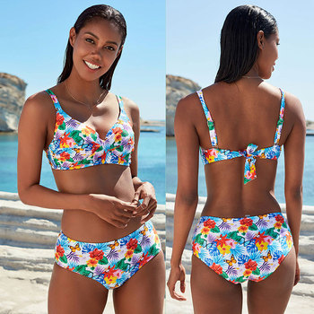 2020 Woman Plus Size Swimwear High Waist S-2XL Bikini Big Women Bathing Suits Floral Vintage Female Sexy Bather Swimsuits