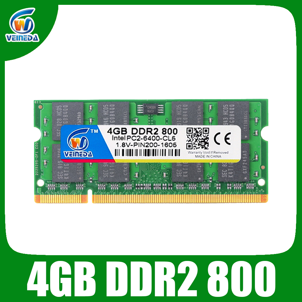 VEINEDA Sodimm 4gb ddr2 800Mhz ram ddr2 667mhz ordinateur portable pour Intel amd mobo Support ram ddr2 pc6400