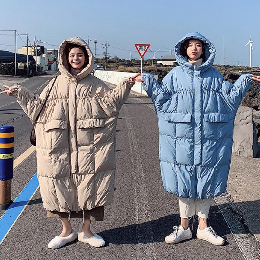 Invierno sobre la rodilla X long bat manga de algodón abrigo femenino suelto de gran tamaño chaqueta gruesa Chaqueta de algodón mullido f272 - 2