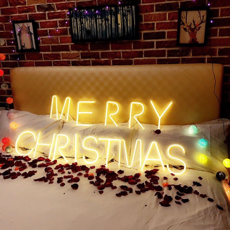 DIY Alpha Letters Lead Neon Sign Lights 3 Color Wedding Decoration Holiday Christmas Party Home Wall Decoration Night Light Bar image