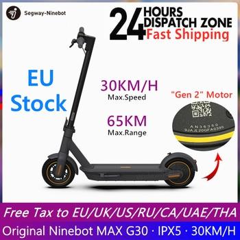 Stock europeo Original Ninebot MAX G30 Scooter eléctrico inteligente plegable KickScooter freno doble Skateboard con aplicación de dos ruedas Scooter