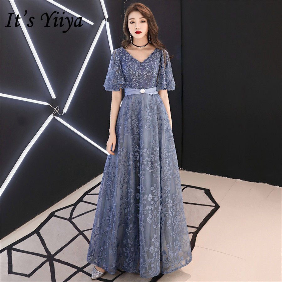 It's Yiiya Evening Dresses Long V-neck Embroidery Lace Formal Dress For Women Plus Size Short Sleeve Robe De Soiree 2020 E1398