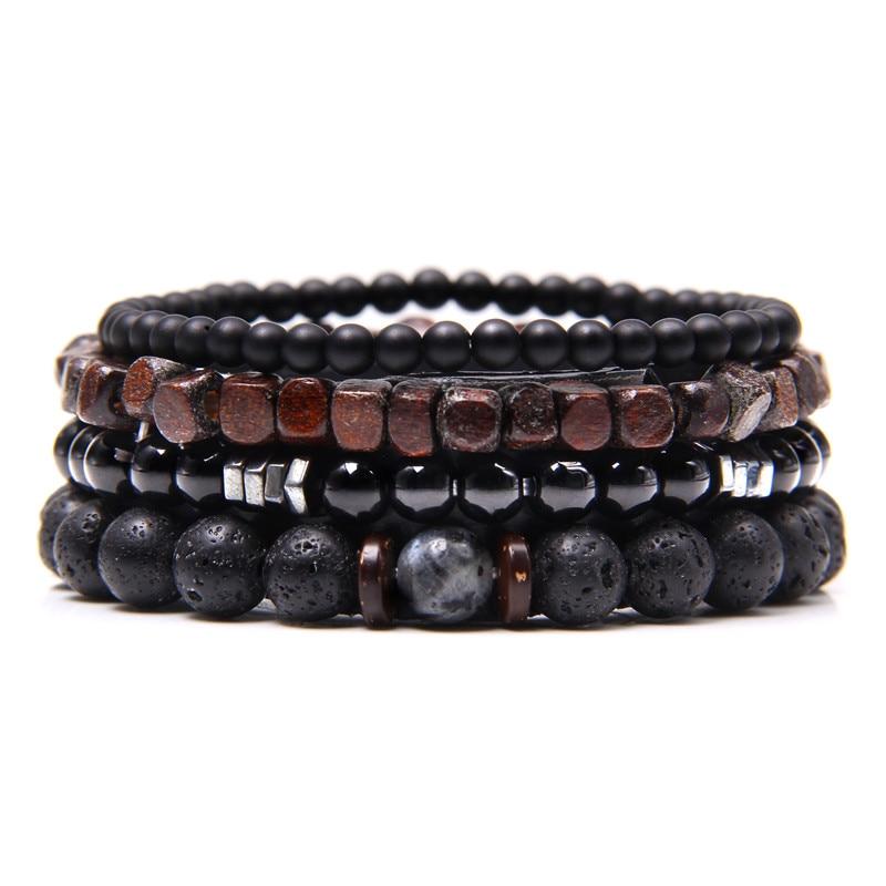 Natural Labradorite Bracelets-Set Onyx-Stone-Beads-Bracelets Polished Clear-Energy Black