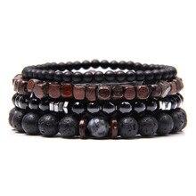 Natural Labradorite Bracelets Set Clear Energy Real Hematite Bracelets Men Polished Black Onyx Stone Beads Bracelets For Women