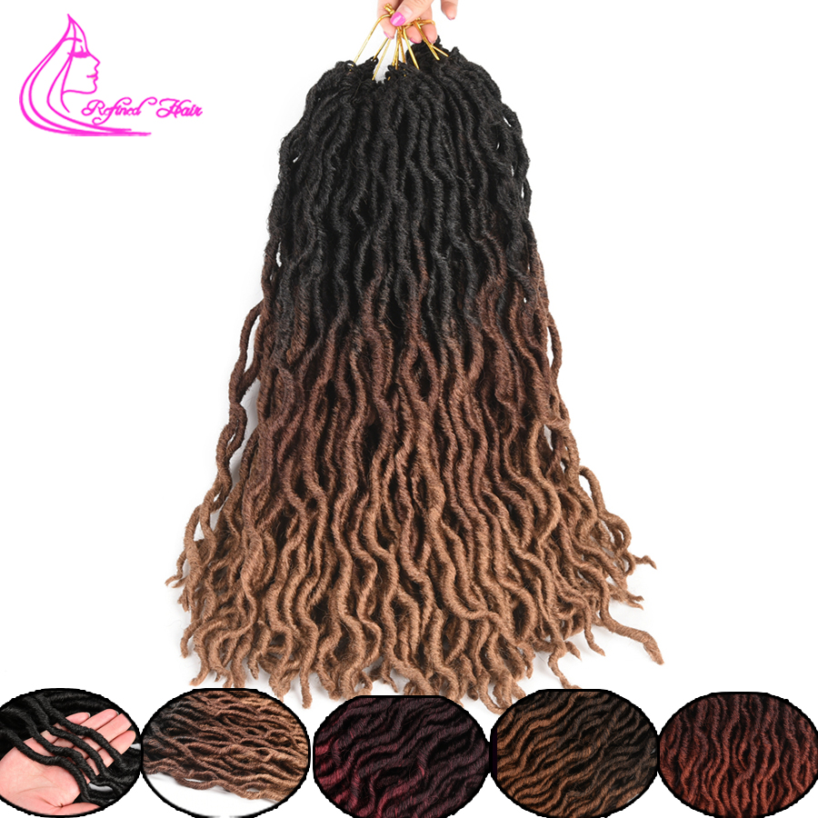 Refined Hair Ombre Faux Locs Curly Crochet Hair 18inch Long Goddess Locs Synthetic Soft Crochet Braids Dreadlocks Braiding Hair