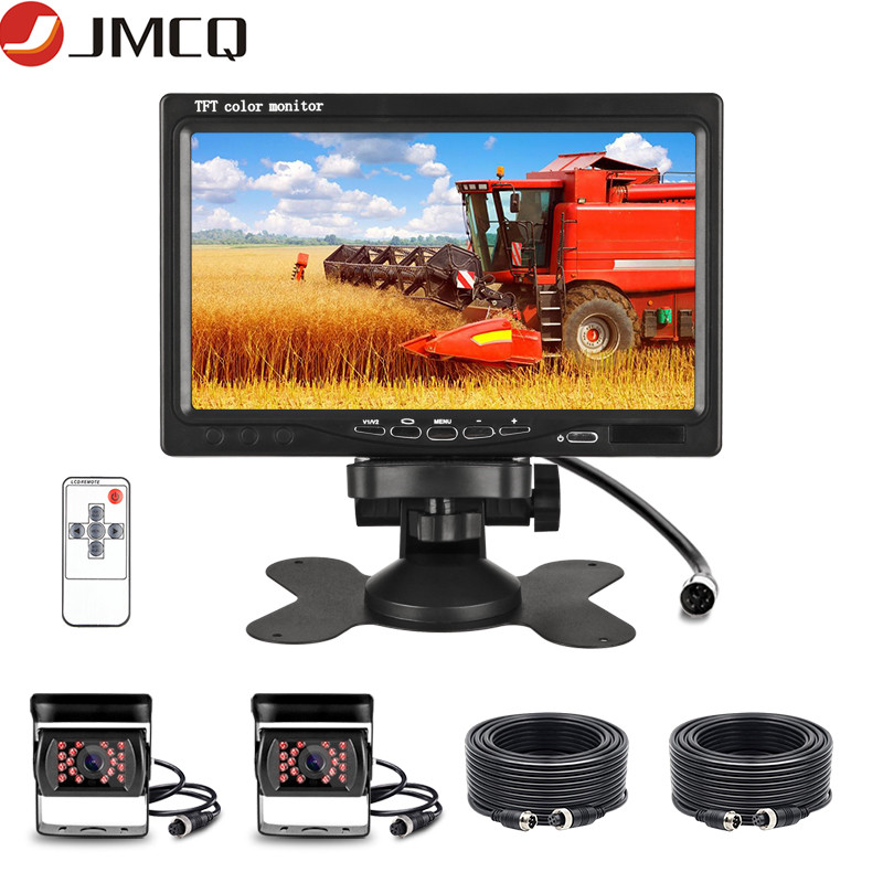 JMCQ 7 дюймов 12-24V автомобильный монитор HD Дисплей на тонкопленочных транзисторах на тонкоплёночных транзисторах ЖК-дисплей Цвет HD Monitorfor авто...