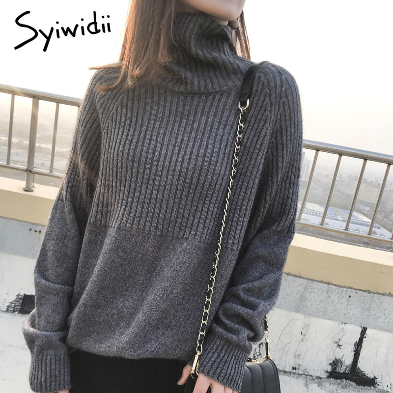 Sweater Women Turtleneck Pullovers Solid Stretch Striped Korean Top Knit Plus Size Harajuku Fall 2020 Winter Clothes Beige Khaki 2
