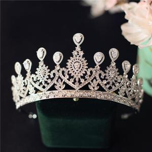 Image 4 - 高級ティアラと王冠czジルコニア王女ページェント婚約カチューシャウェディングヘアアクセサリーイブニングドレスブライダルジュエリー