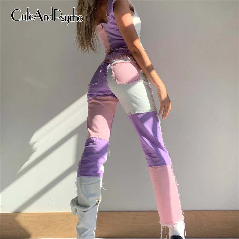 Patchwork Skinny High Waist y2k Jeans for Women Harajuku Sportswear Cargo Pants Joggers Women 90s Skater Jeans Cuteandpsycho(China)