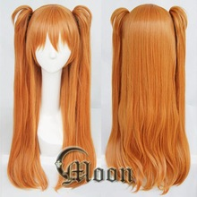 Anime EVA Asuka Langley Soryu Cosplay Wigs Long Orange With 2 Ponytail Clips Heat Resistant Synthetic Hair Wig + Wig Cap