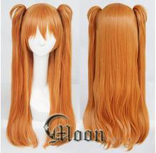 Anime EVA Asuka Langley Soryu Cosplay peruk uzun turuncu 2 at kuyruğu klipleri isıya dayanıklı sentetik saç peruk + peruk kap